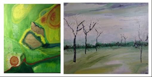 To malerier af ægteparret Kure, der udstiller på Glumsø Bibliotek