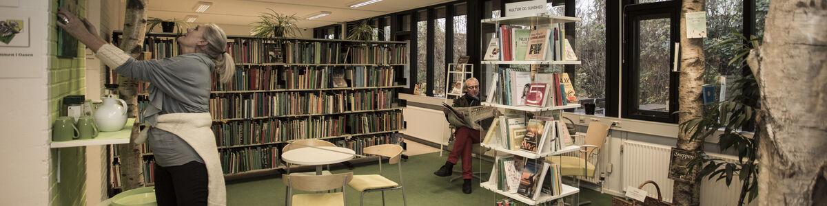 Billede af kunstner, der hænger maleri op på Fuglebjerg Bibliotek