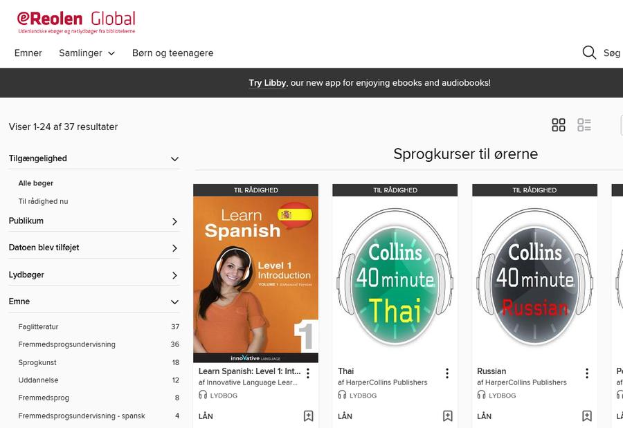 eReolen Global sprogkurser