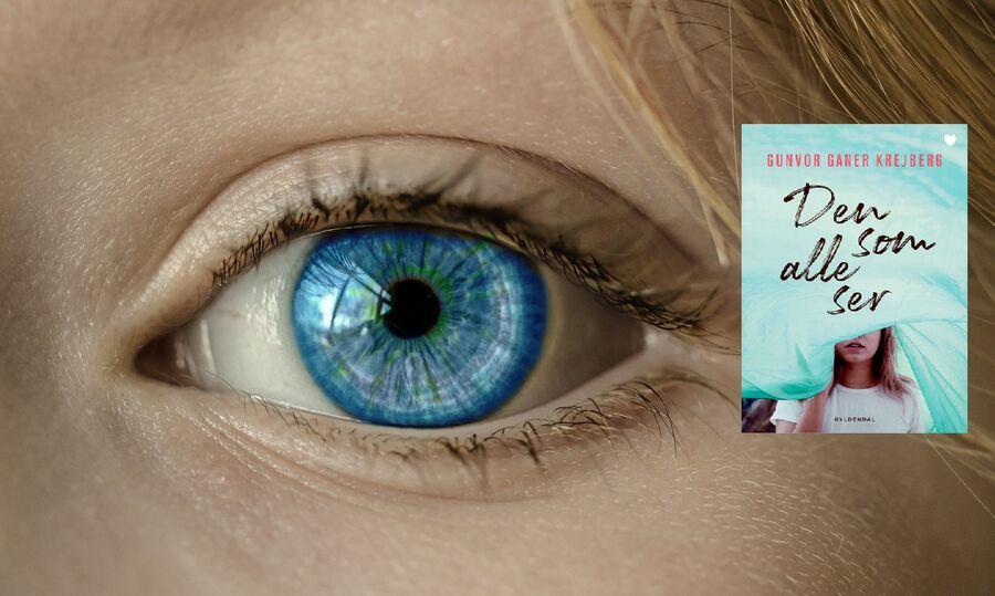 Øje i blå nuance kigger. Forsiden på bogen