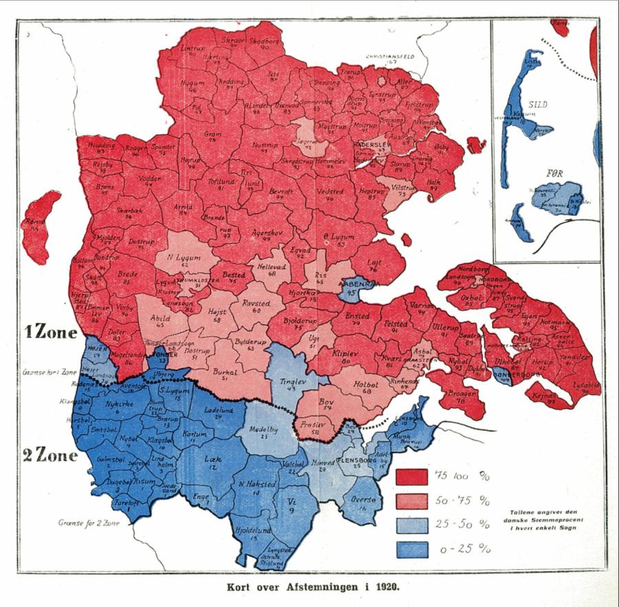 Kort over afstemningsresultatet 1920