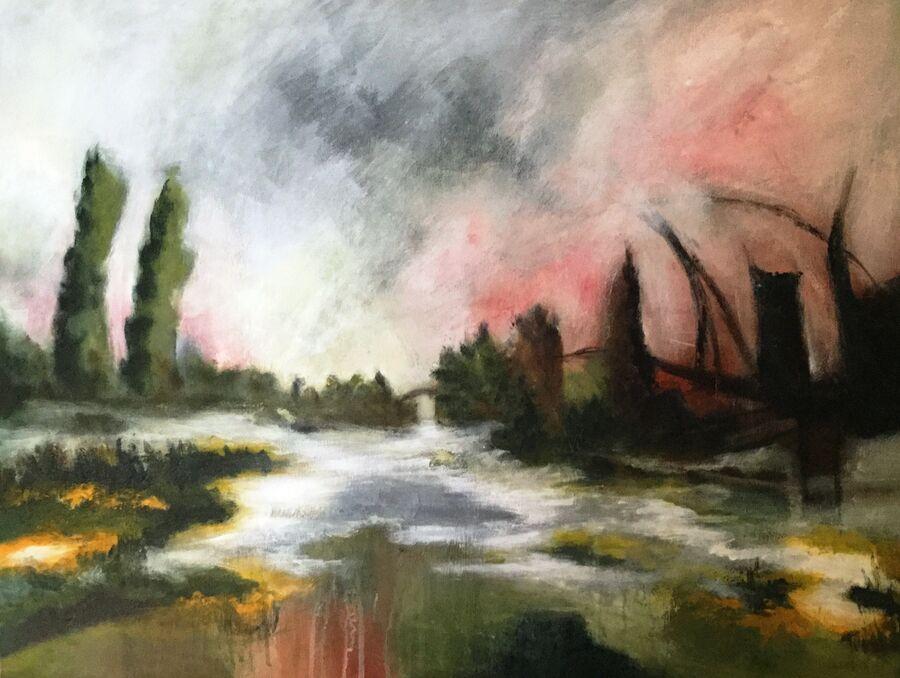Maleri lavet af Susanne I Frederiksen, som er udstillet på Glumsø Bibliotek til d. 26. september 2019
