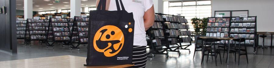 Foto af bibliotekets stofpose