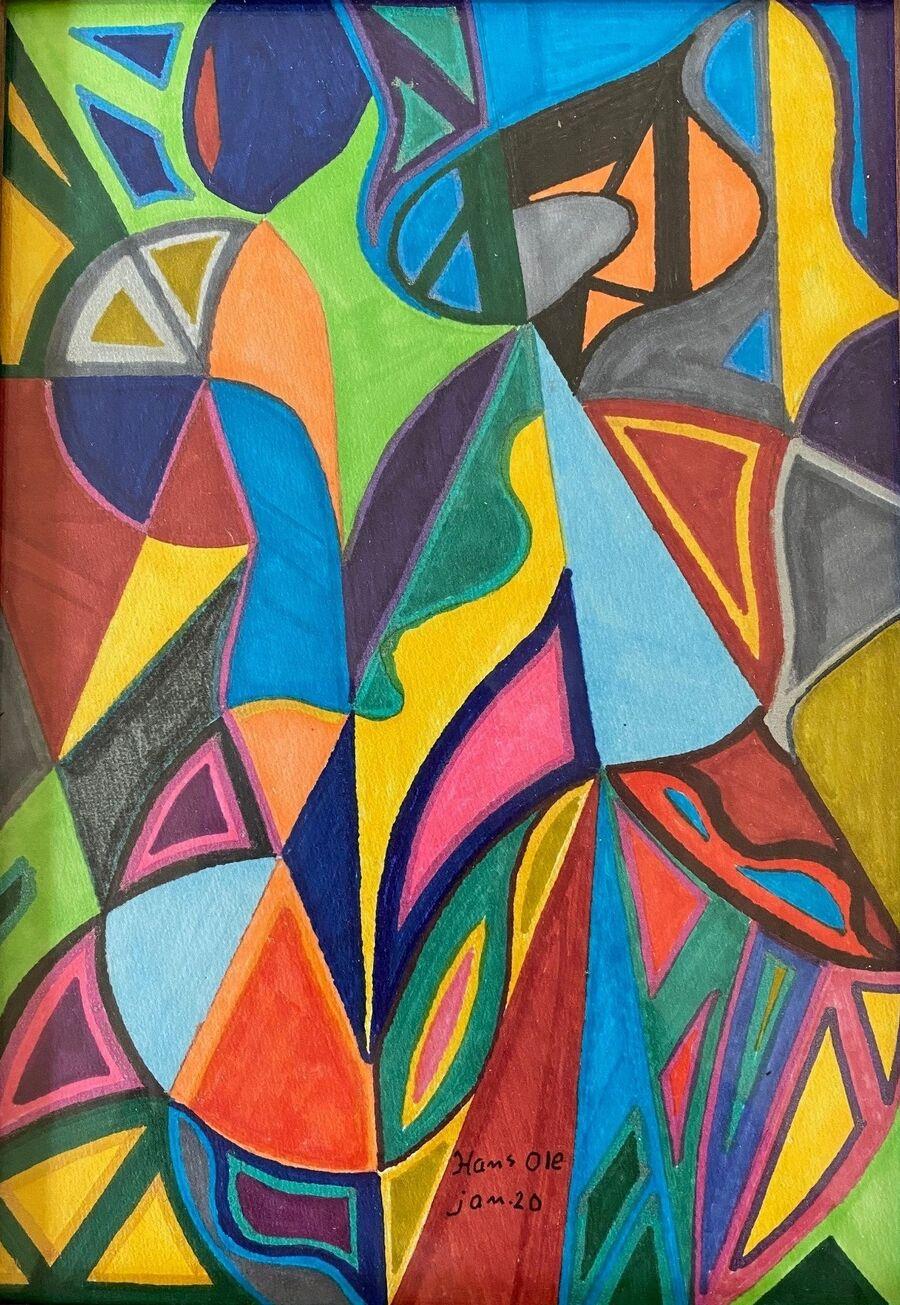 Tuschtegning af Hans Ole Nielsen, farvede abstrakte mønstre